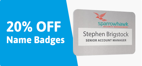 20% off name badges